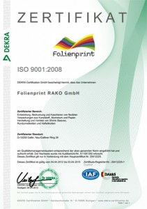 Qualitaetsmanagement Zertifikat ISO 9001:2008