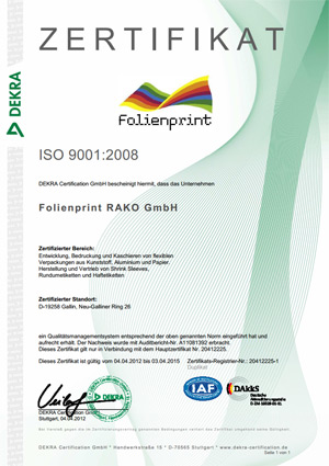 Quality management Certificate ISO 9001:2008